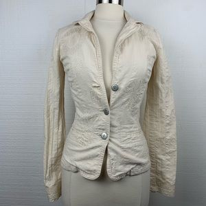 Johnny Was Cream Button Front Embroidered Blazer